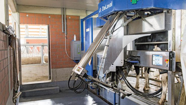 DeLaval milking machine being used