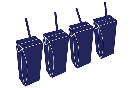 Blue cartons with straw