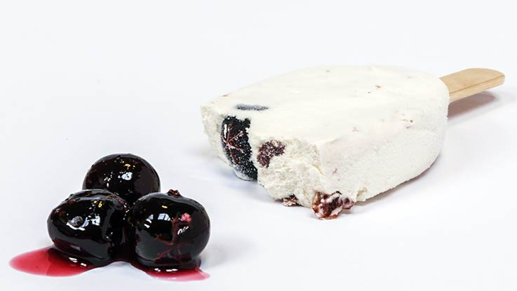 Ice cream with cherries