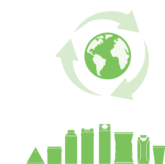 Recycling arrows around a globe. Packages.