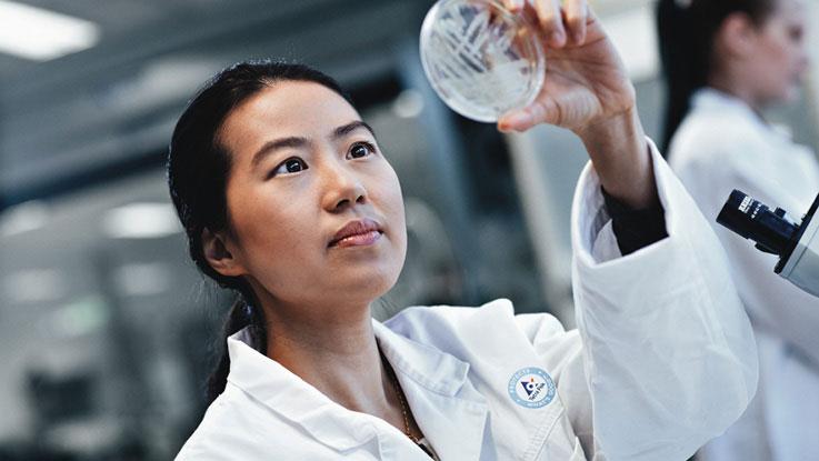Woman analysing sample in laboratory